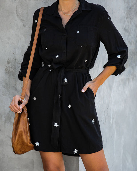 Stardom Tencel Pocketed Button Down Dress