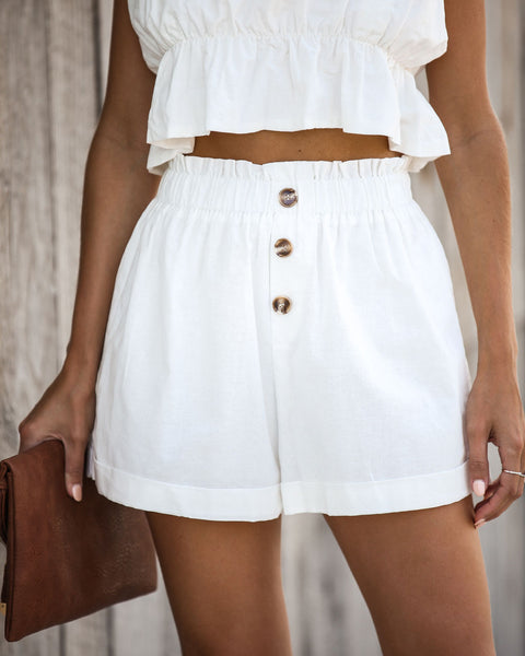 Finders Keepers Cuffed Linen Shorts - White - FINAL SALE