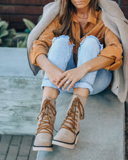 Danny Lace Up Heeled Boot - Latte view 3