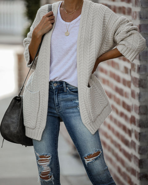 Come On Over Pocketed Knit Cardigan