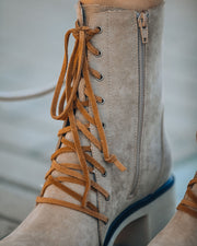 Danny Lace Up Heeled Boot - Latte view 4