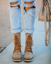 Danny Lace Up Heeled Boot - Latte view 6