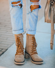 Danny Lace Up Heeled Boot - Latte view 8