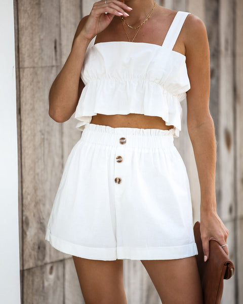 Finders Keepers Linen Ruffle Crop Top - White - FINAL SALE