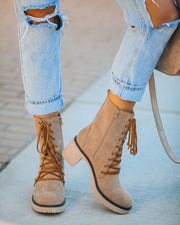 Danny Lace Up Heeled Boot - Latte view 2