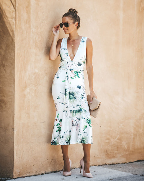 Chrysanthemum Floral Midi Dress