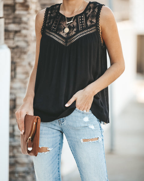 You Belong With Me Lace Tank - Black - FINAL SALE