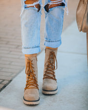 Danny Lace Up Heeled Boot - Latte view 9