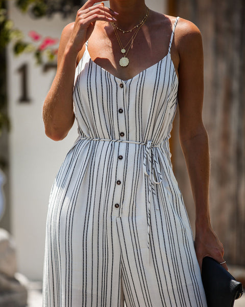 Borderline Striped Pocketed Button Down Jumpsuit - FINAL SALE
