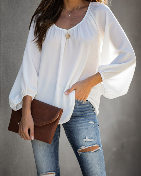 Promotion Balloon Sleeve Blouse - White - FINAL SALE