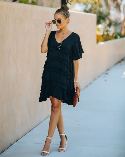 Foxtrot Ruffle Dress - Black  - FINAL SALE