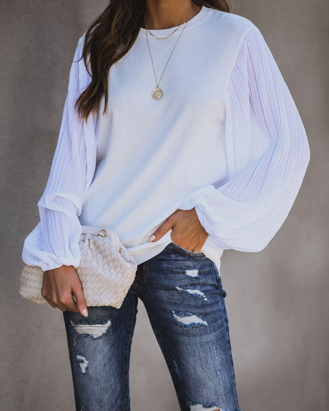 Finishing Touch Plisse Sleeve Knit Sweater - Off White