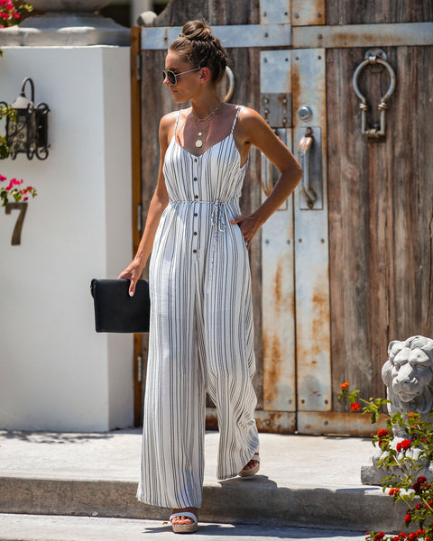 Borderline Striped Pocketed Button Down Jumpsuit