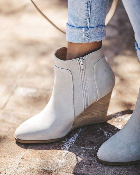 Saddle Up Faux Suede Wedge Bootie - Grey - FINAL SALE