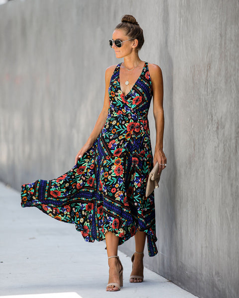 What Lies Ahead Floral Asymmetrical Wrap Dress - FINAL SALE
