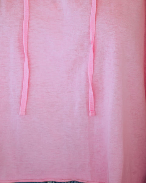 Isle Royale Cotton Lightweight Knit Hoodie - Neon Pink