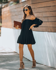 Tess Off The Shoulder Puff Sleeve Dress - Black