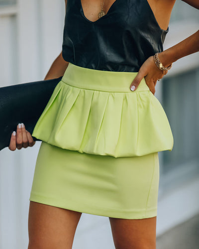 Paradise Peplum Mini Skirt - Limelight - FINAL SALE