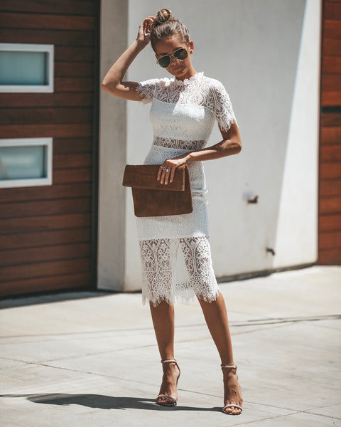 Solange Lace Midi Dress - White