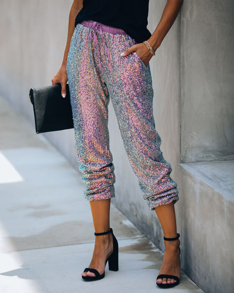 Billboard Pocketed Sequin Joggers