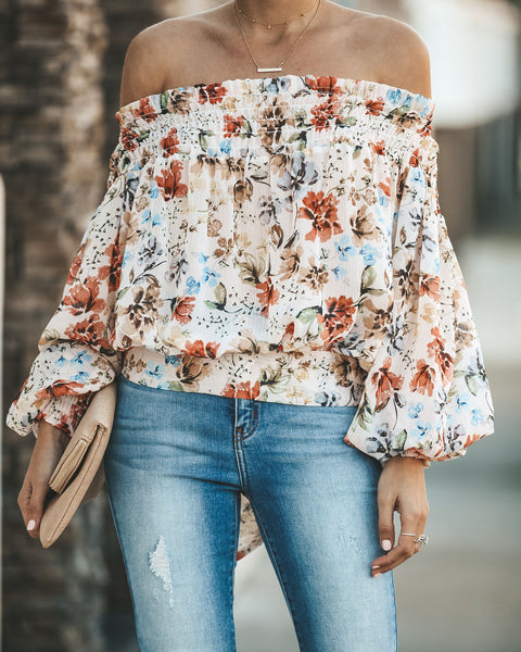 Floral Vienne Smocked Off The Shoulder Top