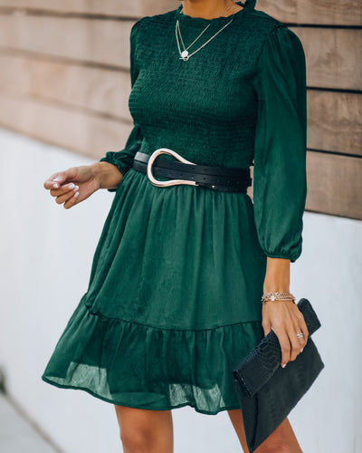 Call It A Night Smocked Dress - Hunter Green