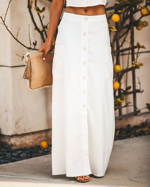 Merriment Button Down Pocketed Maxi Skirt - Off White - FINAL SALE
