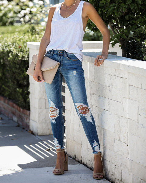 Afterthought Mid Rise Distressed Skinny