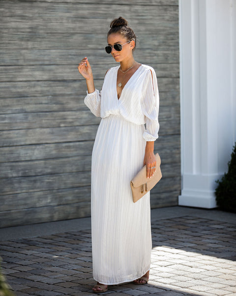 Striking Cold Shoulder Maxi Dress - White - FINAL SALE