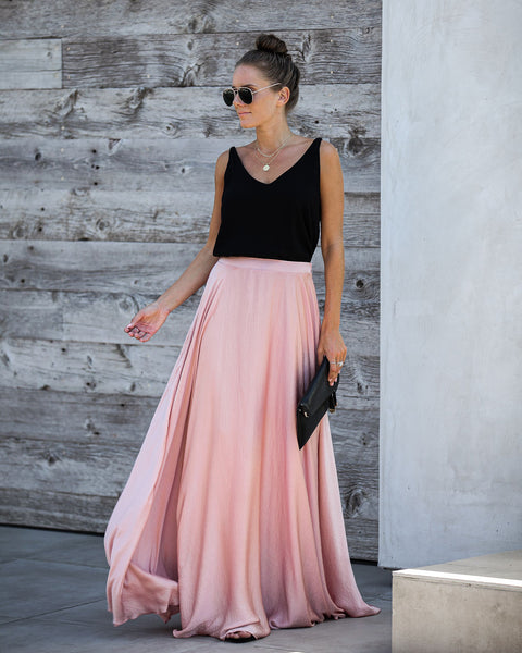 Duchess Satin Maxi Skirt - Blush - FINAL SALE