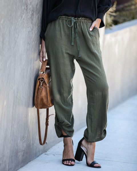 Sunporch Cotton Pocketed Pants - Olive