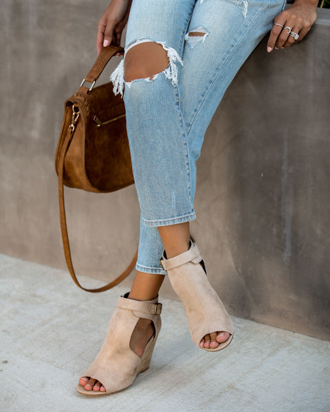 Matisse Faux Suede Peep Toe Wedge - Taupe - FINAL SALE