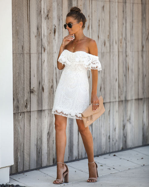 Always Wanted Lace Off The Shoulder Dress