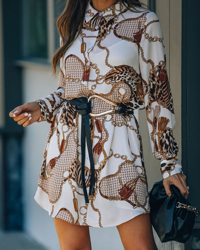 Let's Link Printed Button Down Shirt Dress