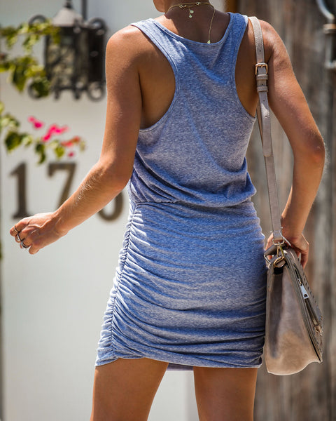 Marley Ruched Tank Dress - Denim