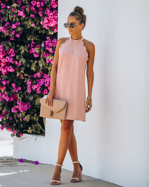 Yours Truly Scalloped Mini Dress - Blush