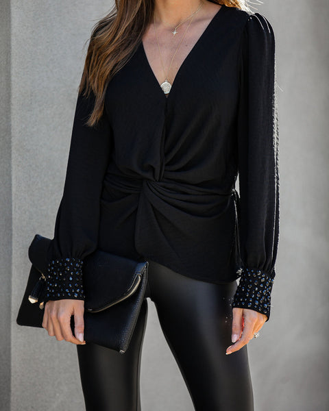 Today We Celebrate Embellished Twist Blouse - Black - FINAL SALE