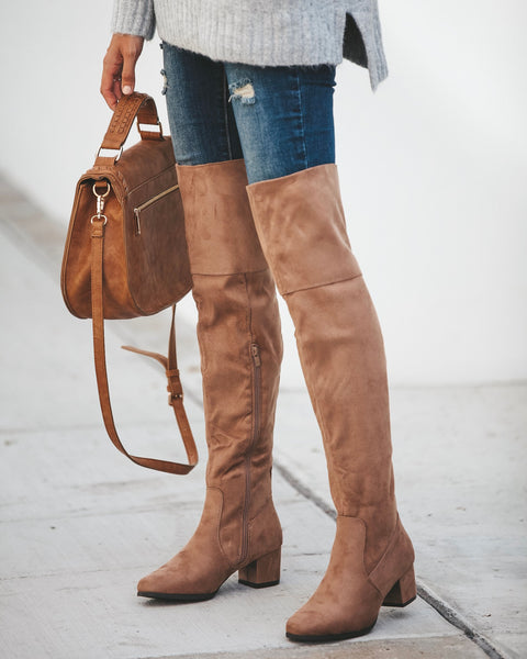 Linden Faux Suede Boot - Taupe