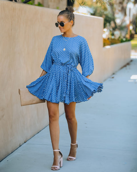 Evanne Polka Dot Rope Tie Swing Dress - Denim