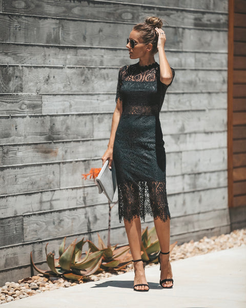 Solange Lace Midi Dress - Black