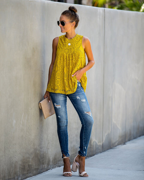 Moon Dance Lace Tank - Mustard