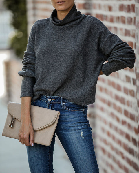 Signature Style Turtleneck Knit Sweater - Charcoal - FINAL SALE