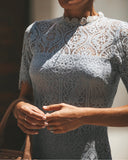 Solange Lace Midi Dress - Grey - FLASH SALE