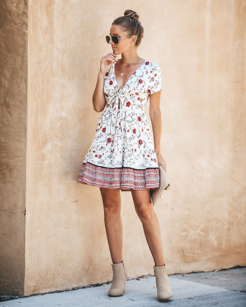 What A Doll Floral Tie Dress