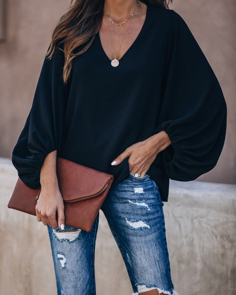 Bells Will Be Ringing Balloon Sleeve Blouse - Black