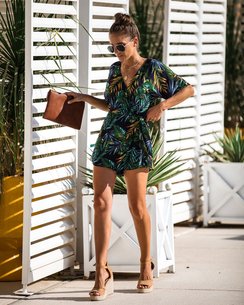 Tropical Monsoon Wrap Romper