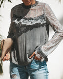 Smoky Mountain Rain Lace Contrast Top