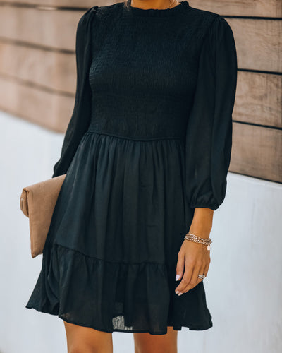 Call It A Night Smocked Dress - Black