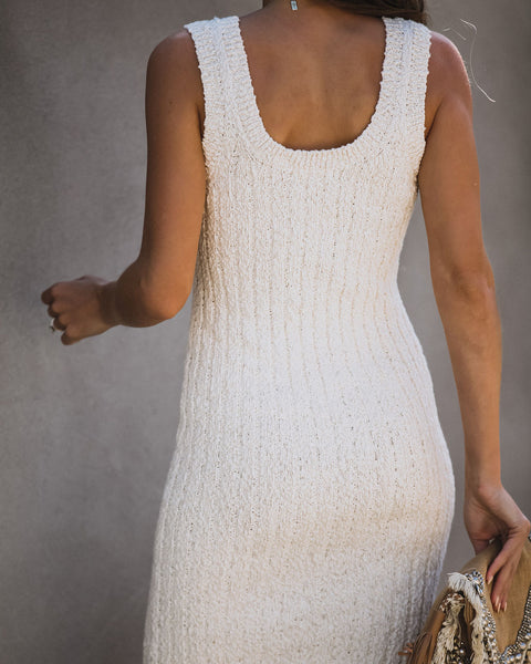 PREORDER - Desert Moon Cotton Ribbed Midi Dress - Oatmeal
