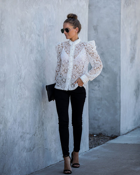 Diamonds Are A Girls Best Friend Lace Blouse - FINAL SALE